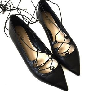 Michael Kors Black Lace Up Point Toe Flats 7